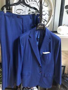 KITON men's 14 micron suit flat front royal blue 3 roll 2 EU 58R / US 46R 46S