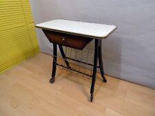 Teewagen Beistelltisch mit 1 Schublade Kleinmöbel auf Rollen Metall/Holz alt