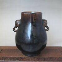 Chinese old Monochrome glaze porcelain Black glazed porcelain Storage tank jar