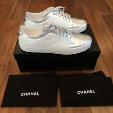 CHANEL Silver White Low Top Sneakers Size 10 (EU 43) Fits Size 11 Brand New Rare