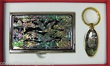 MOP Business Card Holder Case & Key Chain Flying Cranes New Mother-of-Pearl Box