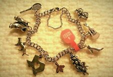 NEW James Avery Double Curb Sterling Silver Charm Bracelet & 9 Charms, 8.00""