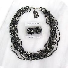 Beaded Necklace Pierced Earrings Set Vintage Bohemian Glass Black Multi Strand