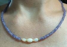 2ct Ethiopian fire opal 6mm oval 21ct faceted 4mm Tanzanite gold 14k necklace