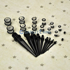 CLEAR + BLACK 23pc EAR STRETCHER SET KIT TAPERS 1.6MM 10MM EXPANDER TUNNEL PLUG
