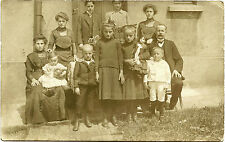 FAMILY PORTRAIT, GIRL WITH DOLL & ca 1900s REAL PHOTO POSTCARD, BARMEN, GERMANY