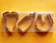 Baby Theme Cookie Cutter Baby Cothes Bottle Bib Fondant Baking Steel Mold Set