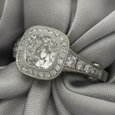 2CT CENTER CUSHION CUT ANTIQUE STYLE DIAMOND ENGAGEMENT RING C1