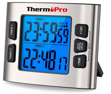 THERMOPRO TM02 Digital Kitchen Timer w/Dual Countdown LOUD Alarm LCD Big Digits