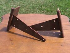 Vintage LARGE Old Metal Barn Door Gate Hinge Rusty Primitive Rustic Set of 2