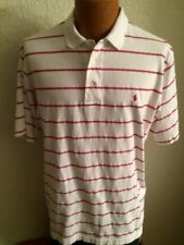 Ralph Lauren Polo Golf White W/Red Stripes Short Sleeve Pullover Shirt Size L