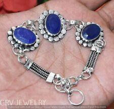"Blue Sapphire Gemstone Bracelet 925 Silver Overlay Size 7""- 8"" U264-B141"