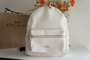NWT COACH F30550 Medium Charlie Refined Pebble Leather Backpack Chalk $378