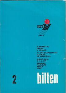 Bulletin basketball FIBA EUROPEAN CHAMPIONSHIP 1975 PEK 75 Yugoslavia - RARE
