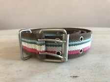 "Multi color Web Belt Double Row Holes Through Belt Silver Buckle 37""L X 1-1/2""W"