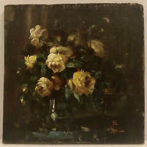 Beautiful 19Th Century Still Life Roses On The Blue Table Signed With Monogram