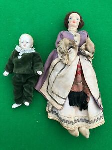 2 Victorian/Edwardian Bisque/Porcelain and Wire Dolls