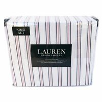 Lauren 4 Piece King Size Sheet Set in Bicolor Navy Blue and Red Stripe on Whi...