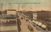 Shawnee OK Main St. Birdseye View c1910 Postcard
