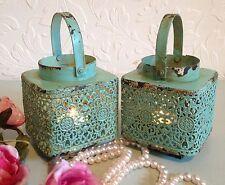 2 x Duck Egg Blue Lace Lantern Tea Light Candle Holder Shabby Chic Wedding Home