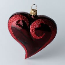 Offer Set of 3 Hearts Christmas Tree Decoration Bauble Hand Made Glassware
