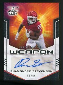 2021 Leaf Ultimate Draft Weapon Rhamonre Stevenson RC Autograph 50/99 PATRIOTS