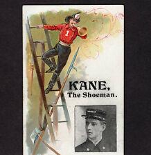 Fireman Antique Fire Rescue Trumpet Ladder Kane the Shoeman Victorian Trade Card