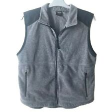 Prospirit Active Sport Gray and Black Fleece Vest Full Zip with Pockets Large