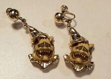 unsigned Florenza Vintage dangling devil clown mask face earrings gold-tone d1