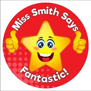 80 Personalised Teacher Reward Stickers for Pupils Red Star Thumbs up well done