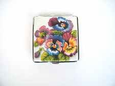 Pansies cigarette case, smoking accessory, floral case, credit card case for her