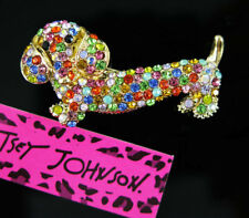 Charm Betsey Johnson Brooch Pin animal Women's multicolor Crystal Dachshund Dog