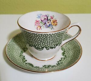 Salisbury Tea Cup & Saucer Bone China England Green & Gold Trims Details