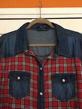 2X - Denim Chambray Cotton Shirt Top Blouse Plaid Red Pearl Snaps Jacket 18/20