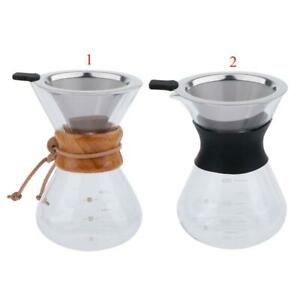 Pour Over Coffee Maker Brewer Pot Carafe with Stainless Steel Filter Set