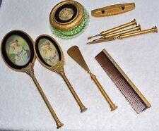 Vintage brass victorian complete vanity set brush jar nail buff shoehorn file