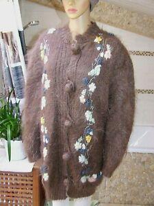 ANNY BLATT  FUZZY MOHAIR HANDKNITTED  magnifique pull / veste  taille 44 /  46