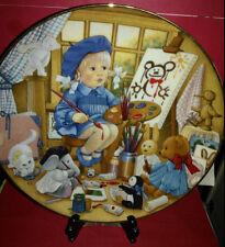 "Collector Plate Carol Lawson Plate Art Class~8 1/8""~Fine Porcelain~Girl & Bears"