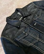Levis Jean Denim & Leather Jacket Men's Size M Medium Black & Blue $279