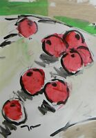 JOSE TRUJILLO - ACRYLIC PAINTING ABSTRACT STILL LIFE RED APPLES ORIGINAL MODERN