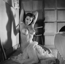 1960s Nude Pinup Simone Auger Sitting on bedroom floor  8 x 8 Photograph