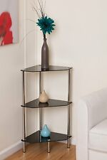 Black Glass Contemporary Chrome and Steel 3 Tier Corner Table Shelf Unit