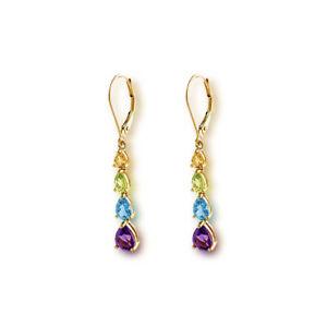 Genuine Multi Color Gemstones Dangle & Drop Style Earrings Yellow Gold