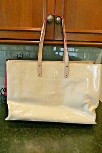 "Arcadia IVORY EXTRA LARGE  patent leather handbag Made In Italy 19""X13"" X 6.5"""