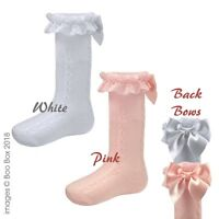 Girls Baby Knee High Lace Frilly Bow Knitted Socks Pex Newborn-9 Year Pink White