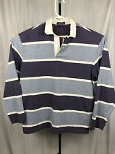 Vintage Lands End Mens Large Rugby Polo Shirt Bold Striped Long Sleeve
