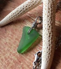 """Vacation Beach Day Sea Glass Jewelry Necklace 18"""" Stainless Moana Hawaii Casual"""