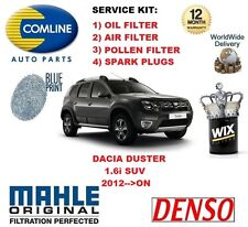 DACIA DUSTER 1.6 SUV 2012-->ON OIL AIR POLLEN FILTER + SPARK PLUGS SERVICE KIT