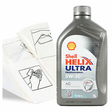 Engine Oil Top Up 1 LITRE Shell Helix Ultra Pro AG 5w-30 1L +Gloves,Wipes,Funnel