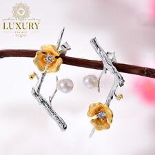 Natural Zircon Handmade 925 Sterling Silver Plum Blossom Flower Dangle Earrings